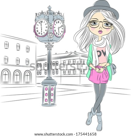Vector cute hipster fashion girl near with a big clock in old town