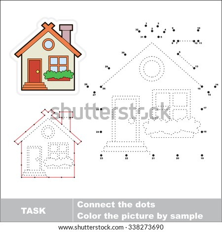 Vector Cute house to be traced by numbers. Dot to dot game. Connect dots for numbers.