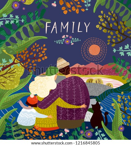 Vector cute illustration of a happy family on nature in the evening at sunset or at night; mother, father and child embrace and enjoy the beautiful summer, autumn and spring landscape