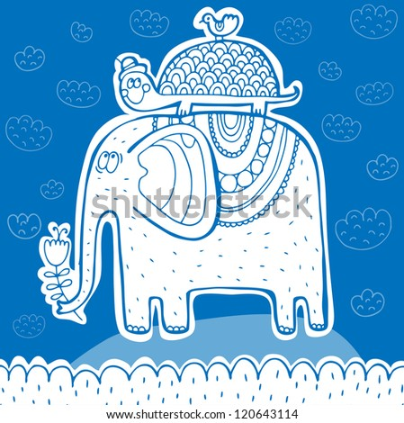 Vector cute illustration with elephant, tortilla and bird