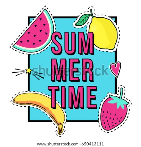 Stock Photo Vector cute illustration with Summer Time frame and fruit patch badges: banana, watermelon, lemon, strawberry. Trendy collection of stickers, pins, patches in cartoon comic style.
