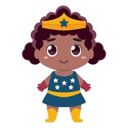 Vector cute kawaii kid superhero colorful isolated