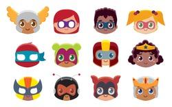 Vector cute kawaii set superheros emojis isolated