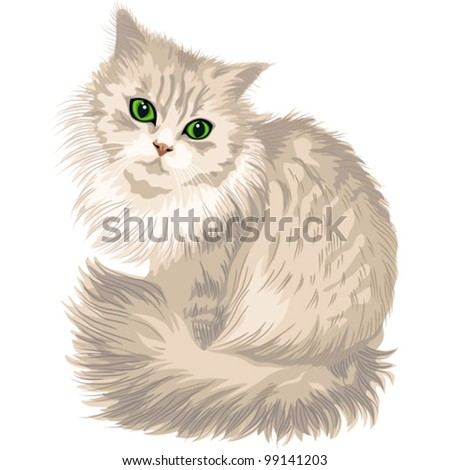 vector cute lilac cat with