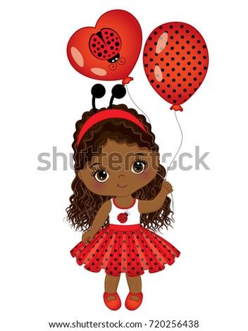 Vector cute little African American girl with balloons. Little African American girl dressed in ladybug style. Little  African American girl vector illustration