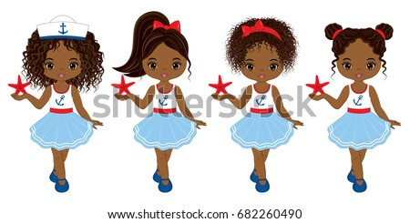 Vector cute little African American girls various hairstyles. Vector nautical girls with starfish. African American girls vector illustration