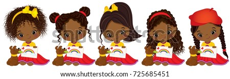 Vector cute little African American girls with various hairstyles. Vector little African American artists drawing. Little artists vector illustration