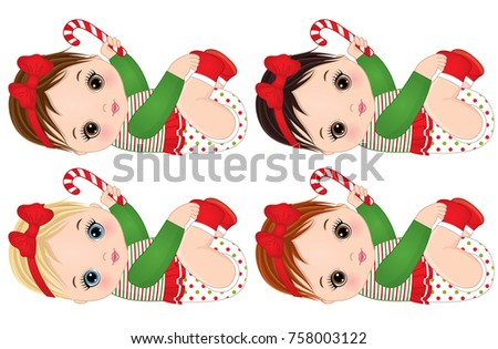 vector cute little baby girls