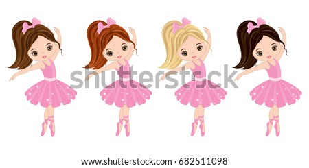 vector cute little ballerinas