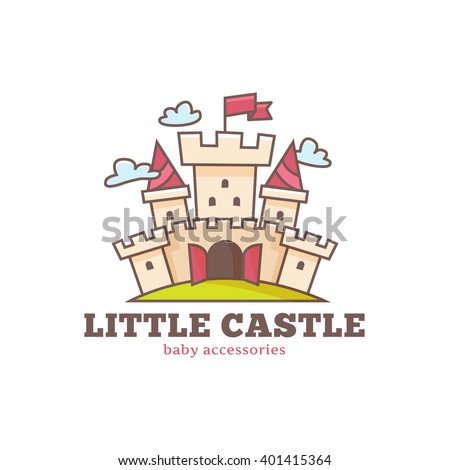 vector cute little castle logo