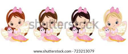 vector cute little fairies with