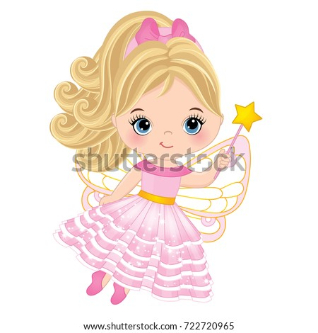 vector cute little fairy with