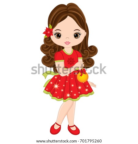 vector cute little girl with