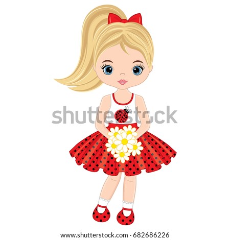 Vector cute little girl with flowers . Vector little girl in polka dot dress. Little girl vector illustration.