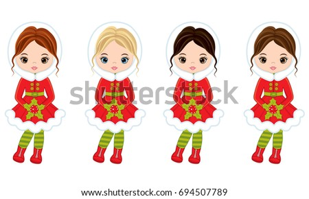 vector cute little girls with