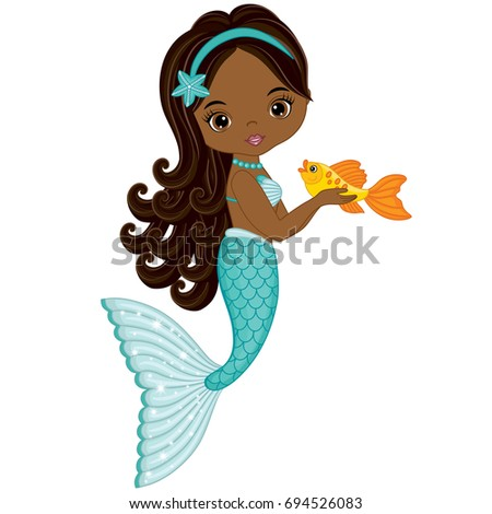 Stock Photo Vector cute little mermaid with fish. Vector African American mermaid. Mermaid vector illustration