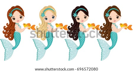 Stock Photo Vector cute little mermaids with fish.