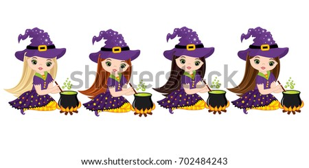 vector cute little witches