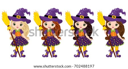vector cute little witches with