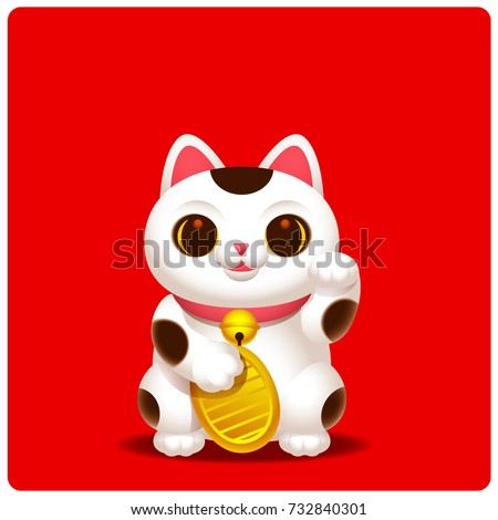 Vector cute Maneki-neko, lucky cat character with golden coin on red color background.