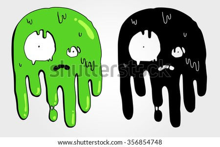 vector cute melting slimy