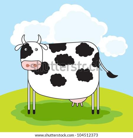 Vector cute milk cow
