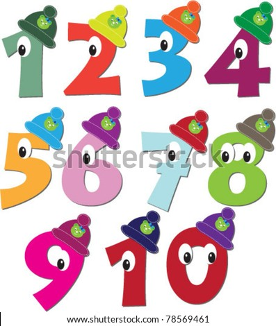 vector cute numbers from 1 to 10