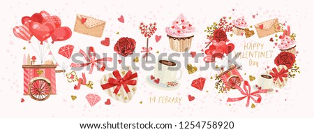 Vector cute objects and elements for Valentine's Day cards: heart, sweets, coffee, cake, key, candy, letter, diamond, rose, lollipop, ice cream cart #1254758920