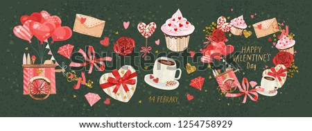 Vector cute objects and elements for Valentine's Day cards: heart, sweets, coffee, cake, key, candy, letter, diamond, rose, lollipop, ice cream cart