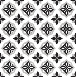 Vector Cute Ornamental Seamless Pattern. Geometric Flower Stylish Texture. Abstract Retro Tile Texture.