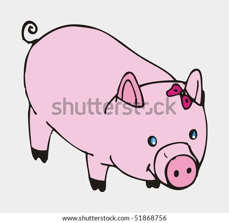 Cute Pig Logo Vector Cute Pig Illustration