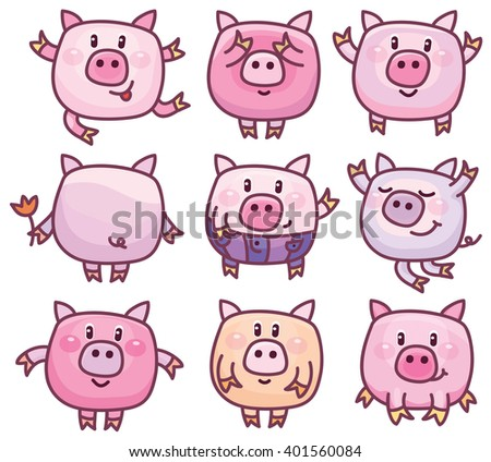 vector cute pigs cartoons