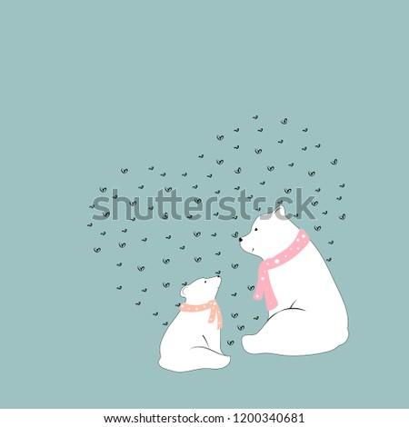 vector cute polar bear mommy