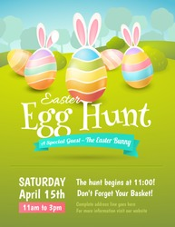 Vector cute poster for Easter Egg Hunt with colored eggs and ears of a rabbit. Cartoon spring scene with trees and bushes in field. For holiday flyers and banners design.