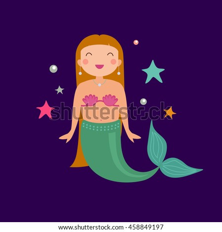 vector cute poster with mermaid