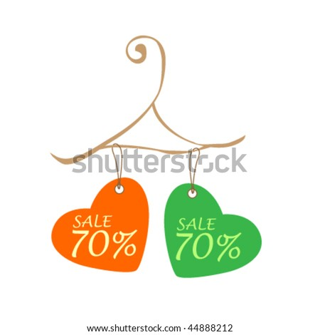 vector cute promotion tags design for valentine's discount - stock vector