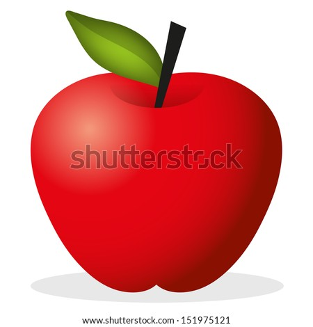 vector cute red apple