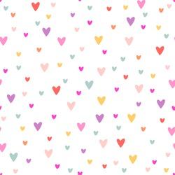 Vector cute romantic cartoon hearts seamless pattern background