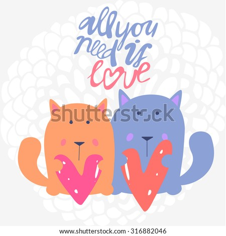 vector cute romantic couple of cats with hearts card background template