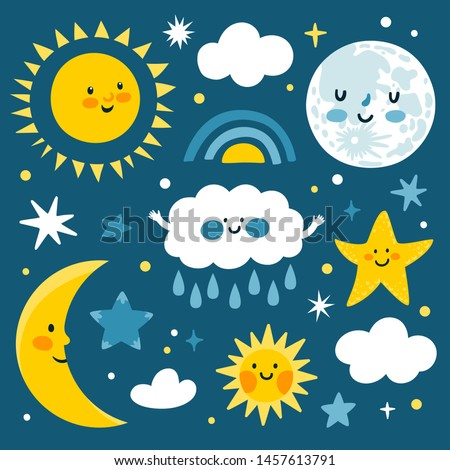 Vector cute set of night icons: full moon, sun, clouds, stars and sparkles. Sticker collection with smiling moon. Night background with cozy elements. Bedtime stories. Children background.