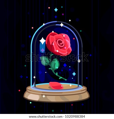 vector cute single rose under