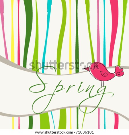 Vector cute spring bird illustration
