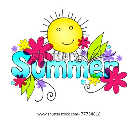 Vector cute summer illustration with sun and flowers - stock vector