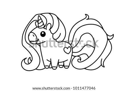 Vector Cute Unicorn Black Linear Art Magic Fantasy Pony With Horn Cartoon Coloring Book