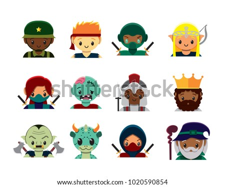 Vector cute  videogame characters set colorful isolated