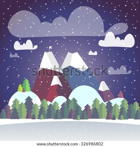 vector cute winter flat