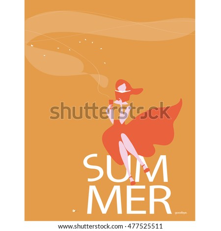 vector cute woman reading book