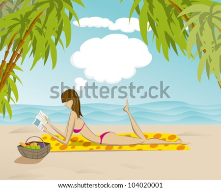 Vector cute woman reading the book on the beach, and dreaming