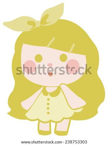 vector cute yellow doll