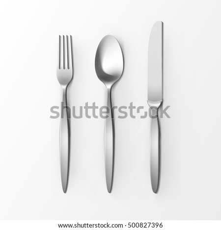 Vector Cutlery Set of Silver Fork Spoon and Knife Top View Isolated on White Background. Table Setting